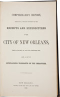 Books:Americana & American History, Comptroller's Report, Embracing a Detailed Statement of theReceipts and Expenditures of the City of New Orleans,From...