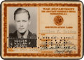 Movie/TV Memorabilia:Autographs and Signed Items, A William Holden Military ID Card and Signed Items, 1940s.... (Total: 3 Items)