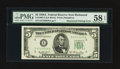 Error Notes:Obstruction Errors, Fr. 1962-E $5 1950A Federal Reserve Note. PMG Choice About Unc 58EPQ.. ...