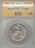 Seated Half Dollars: , 1842-O 50C Medium Date, Large Letters -- Cleaned -- ANACS. AU50Details. NGC Census: (0/28). PCGS Population (9/22). Mintag...