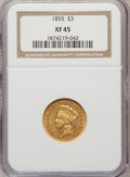 Three Dollar Gold Pieces: , 1855 $3 XF45 NGC. NGC Census: (91/965). PCGS Population (116/600). Mintage: 50,555. Numismedia Wsl. Price for problem free ...