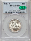 Barber Quarters: , 1916-D 25C MS65 PCGS. CAC. PCGS Population (312/105). NGC Census: (168/55). Mintage: 6,540,800. Numismedia Wsl. Price for p...