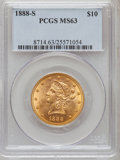 Liberty Eagles: , 1888-S $10 MS63 PCGS. PCGS Population (117/3). NGC Census: (76/6).Mintage: 648,700. Numismedia Wsl. Price for problem free...