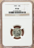 Proof Barber Dimes: , 1907 10C PR66 NGC. NGC Census: (26/17). PCGS Population (24/10).Mintage: 575. Numismedia Wsl. Price for problem free NGC/P...