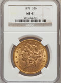 Liberty Double Eagles: , 1877 $20 MS61 NGC. NGC Census: (264/145). PCGS Population(179/134). Mintage: 397,670. Numismedia Wsl. Price for problemfr...