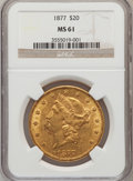 Liberty Double Eagles: , 1877 $20 MS61 NGC. NGC Census: (265/145). PCGS Population(179/134). Mintage: 397,670. Numismedia Wsl. Price for problemfr...