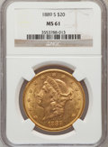 Liberty Double Eagles: , 1889-S $20 MS61 NGC. NGC Census: (674/631). PCGS Population(343/1049). Mintage: 774,700. Numismedia Wsl. Price for problem...