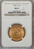Liberty Eagles: , 1904-O $10 MS61 NGC. NGC Census: (188/202). PCGS Population(97/268). Mintage: 108,950. Numismedia Wsl. Price for problem f...