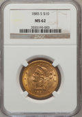 Liberty Eagles: , 1885-S $10 MS62 NGC. NGC Census: (244/73). PCGS Population(244/80). Mintage: 228,000. Numismedia Wsl. Price for problem fr...