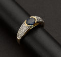 Estate Jewelry:Rings, Superb 18k Gold Diamond & Sapphire Ring. ...