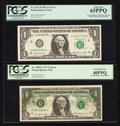Error Notes:Error Group Lots, Fr. 1909-F $1 1977 Federal Reserve Note. PCGS Extremely Fine40PPQ;. Fr. 1911-H $1 1981 Federal Reserve Note. PCGS Gem New65P... (Total: 2 notes)
