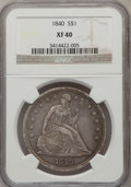 Seated Dollars: , 1840 $1 XF40 NGC. NGC Census: (15/171). PCGS Population (42/178).Mintage: 61,005. Numismedia Wsl. Price for problem free N...