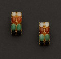 Estate Jewelry:Earrings, Multi-Color Jade & Gold Earrings. ...