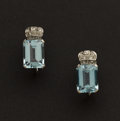 Estate Jewelry:Earrings, Outstanding Aquamarine Platinum Earrings. ...
