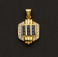 Estate Jewelry:Pendants and Lockets, Superb Sapphire & 18k Gold Pendant. ...