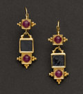 Estate Jewelry:Earrings, Cabochon Ruby & Gold Earrings. ...