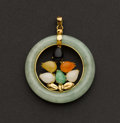 Estate Jewelry:Pendants and Lockets, Multi-Color Jade 18k Gold Pendant. ...