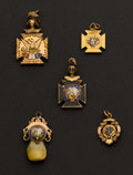 Estate Jewelry:Other , Four Gold & Gold Filled Masonic Fobs & One Elk's Tooth Gold Fob. ... (Total: 5 Items)
