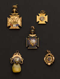 Four Gold & Gold Filled Masonic Fobs & One Elk's Tooth Gold Fob