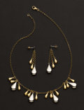 Estate Jewelry:Other , Collection Of Gold Pendant & Earrings. ... (Total: 2 Items)