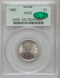 Liberty Nickels: , 1905 5C MS65 PCGS. CAC. PCGS Population (209/68). NGC Census:(153/33). Mintage: 29,827,276. Numismedia Wsl. Price for prob...