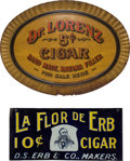 Advertising:Tobacciana, Two Lithographed Tin Cigar Advertising Signs.... (Total: 2 Items)