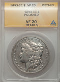 1893-CC $1 -- Polished -- ANACS. VF20 Details. NGC Census: (98/2297). PCGS Population (153/4241). Mintage: 677,000. Numi...