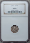 Seated Half Dimes: , 1871 H10C MS61 NGC. NGC Census: (24/307). PCGS Population (21/273).Mintage: 1,873,960. Numismedia Wsl. Price for problem f...