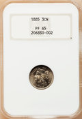 Proof Three Cent Nickels: , 1885 3CN PR65 NGC. NGC Census: (294/175). PCGS Population(296/173). Mintage: 3,790. Numismedia Wsl. Price for problemfree...