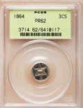 Proof Three Cent Silver: , 1864 3CS PR62 PCGS. PCGS Population (20/143). NGC Census: (1/138).Mintage: 470. Numismedia Wsl. Price for problem free NGC...