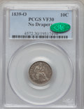 Seated Dimes: , 1839-O 10C No Drapery VF30 PCGS. CAC. PCGS Population (4/62). NGCCensus: (2/67). Mintage: 1,323,000. Numismedia Wsl. Price...