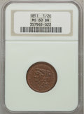 Half Cents: , 1851 1/2 C MS60 Brown NGC. NGC Census: (4/334). PCGS Population(11/179). Mintage: 147,672. Numismedia Wsl. Price for probl...