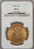 Liberty Double Eagles: , 1889-S $20 MS61 NGC. NGC Census: (674/630). PCGS Population (343/1057). Mintage: 774,700. Numismedia Wsl. Price for problem...