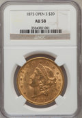 Liberty Double Eagles: , 1873 $20 Open 3 AU58 NGC. NGC Census: (2201/3633). PCGS Population(683/2711). Numismedia Wsl. Price for problem free NGC/...