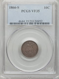 Seated Dimes: , 1866-S 10C VF35 PCGS. PCGS Population (4/26). NGC Census: (1/20).Mintage: 135,000. Numismedia Wsl. Price for problem free ...