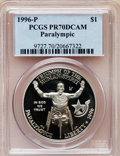 Modern Issues: , 1996-P $1 Olympic/Paralympics Silver Dollar PR70 Deep Cameo PCGS.PCGS Population (9). NGC Census: (0). Numismedia Wsl. Pr...