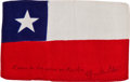Transportation:Space Exploration, Apollo 14 Flown National Flag of Chile Directly from the PersonalCollection of Mission Lunar Module Pilot Edgar Mitchell, Sig...