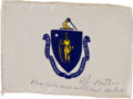 Transportation:Space Exploration, Apollo 14 Flown State Flag of Massachusetts Directly from thePersonal Collection of Mission Lunar Module Pilot Edgar Mitchell...