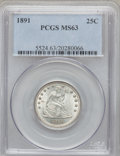 Seated Quarters: , 1891 25C MS63 PCGS. PCGS Population (132/232). NGC Census:(107/257). Mintage: 3,920,600. Numismedia Wsl. Price for problem...