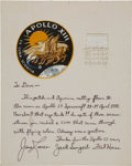 Transportation:Space Exploration, Apollo 13 Command Module Flown Mission Patch and Lunar Module FlownNetting on a Crew-Signed Mat, Originally from the Personal...