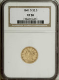Liberty Quarter Eagles: , 1841-D $2 1/2 VF30 NGC. Variety 2-C. An early Dahlonega Mint issue,with a scant mintage of 4,164, and a limited survival r...