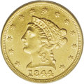 Liberty Quarter Eagles: , 1844 $2 1/2 AU58 PCGS. An attractive example of this important andelusive piece, one of just 6,700 quarter eagles coined f...