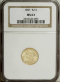 Liberty Quarter Eagles: , 1851 $2 1/2 MS63 NGC. Select and frosty with minimally markedstraw-gold surfaces. Typical striking weakness is evident at ...