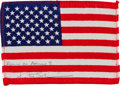 Transportation:Space Exploration, Apollo 9 Flown American Flag Directly from the Personal Collection of Mission Lunar Module Pilot Rusty Schweickart, Signed and...