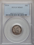 Barber Dimes: , 1914 10C MS65 PCGS. PCGS Population (140/56). NGC Census: (136/46).Mintage: 17,360,656. Numismedia Wsl. Price for problem ...