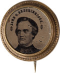 Political:Ferrotypes / Photo Badges (pre-1896), John C. Breckinridge: Mini Ferrotype Badge....
