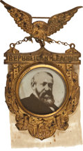 Political:Ferrotypes / Photo Badges (pre-1896), Benjamin Harrison: Ornate Republican League Badge....