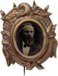 Political:Ferrotypes / Photo Badges (pre-1896), Rutherford B. Hayes: Bold Ferrotype Badge....