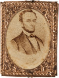 Political:Ferrotypes / Photo Badges (pre-1896), Abraham Lincoln: Gem Albumen Badge....