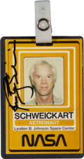 Transportation:Space Exploration, Rusty Schweickart's NASA U.S. Government Photo Identification BadgeDirectly from his Personal Collection, Signed....